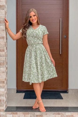 Vestido Geicy Decote Em V Estampa Margaridas