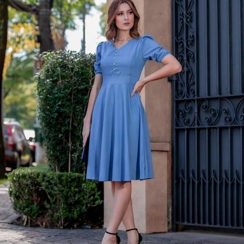 Vestido Gisele Chambre Azul claro